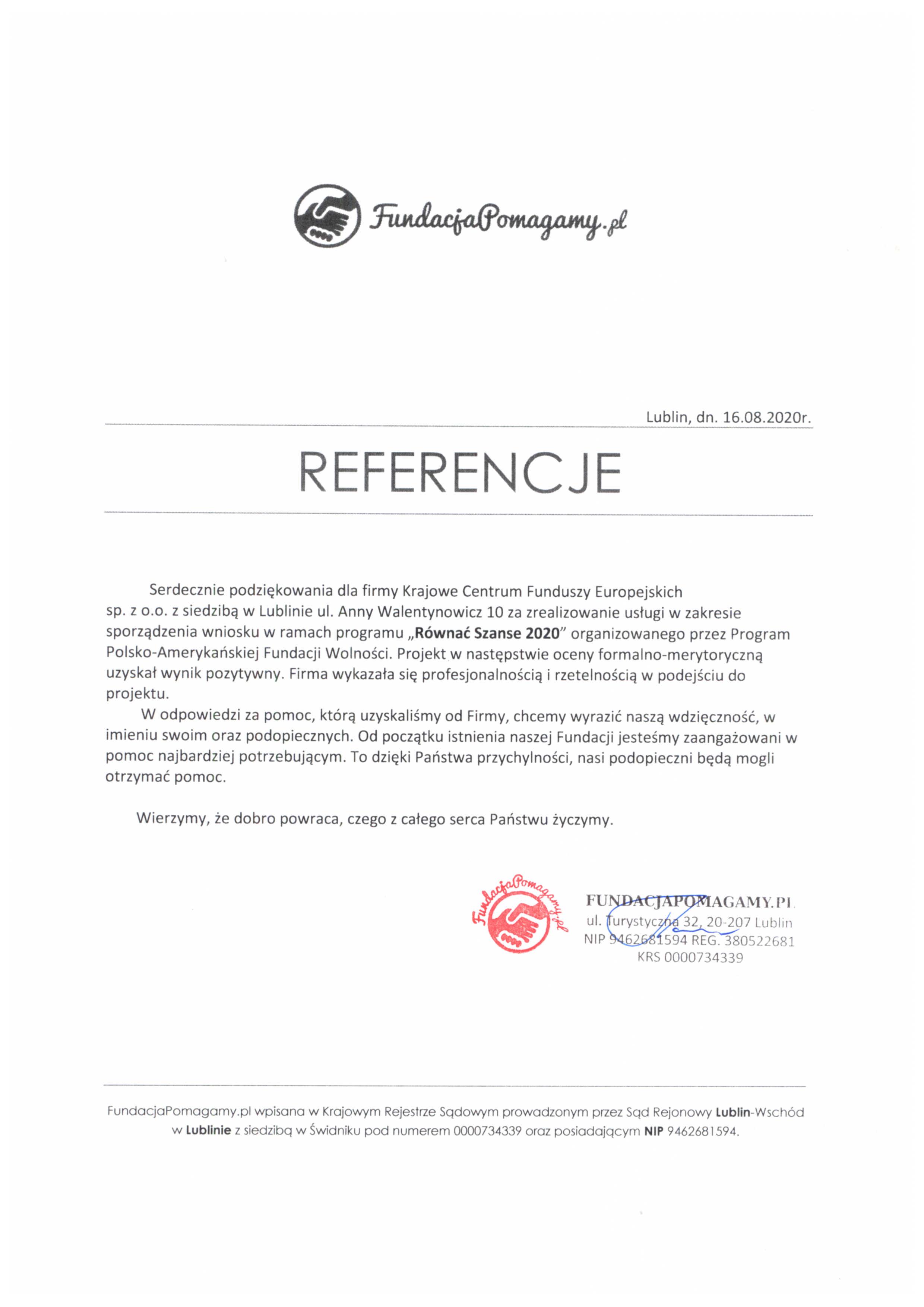 Referencje FundacjaPomagamy.pl 16.08.2020 - JPG