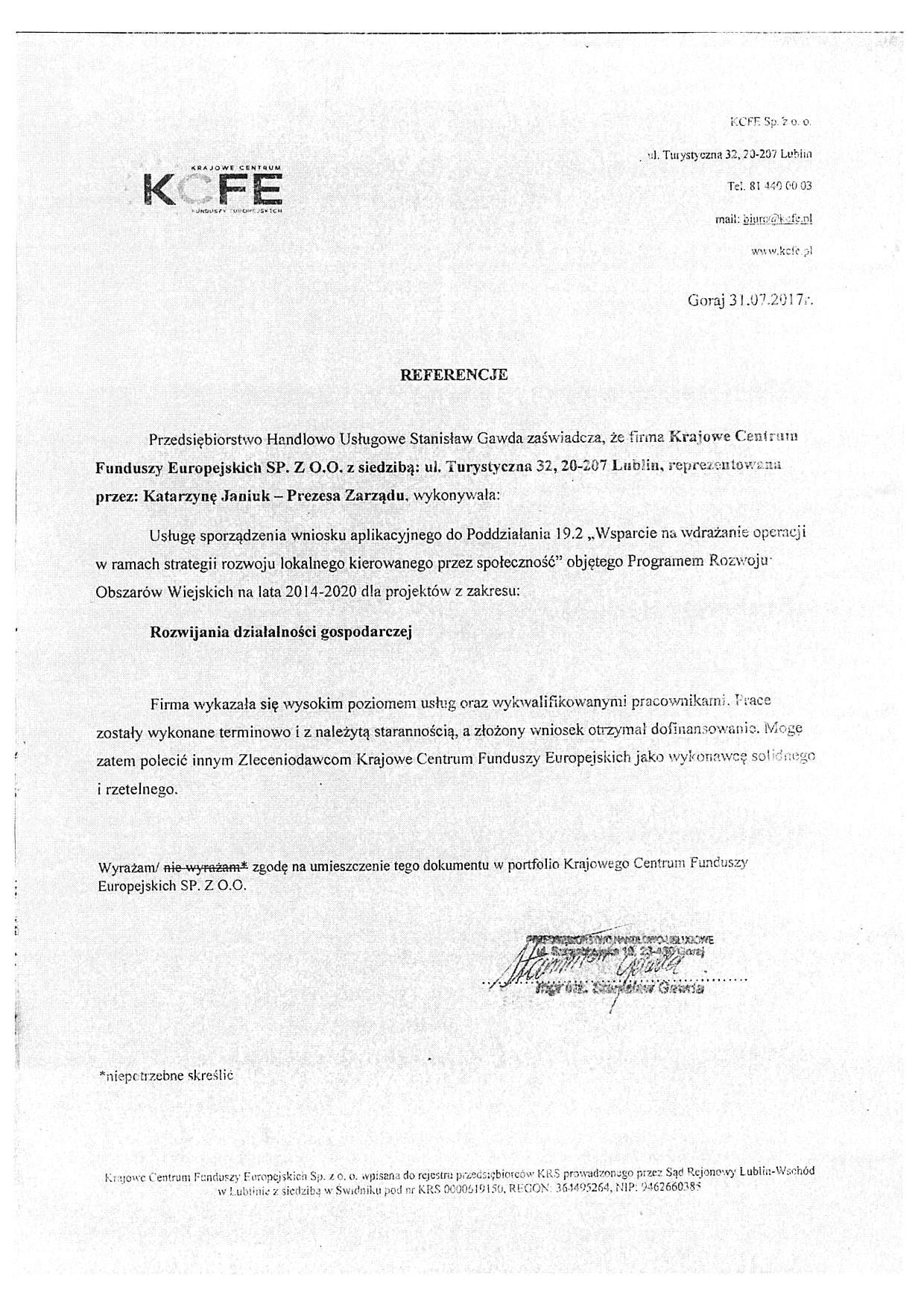 Referencje PHU Stanisław Gawda 31.07.2017 - JPG