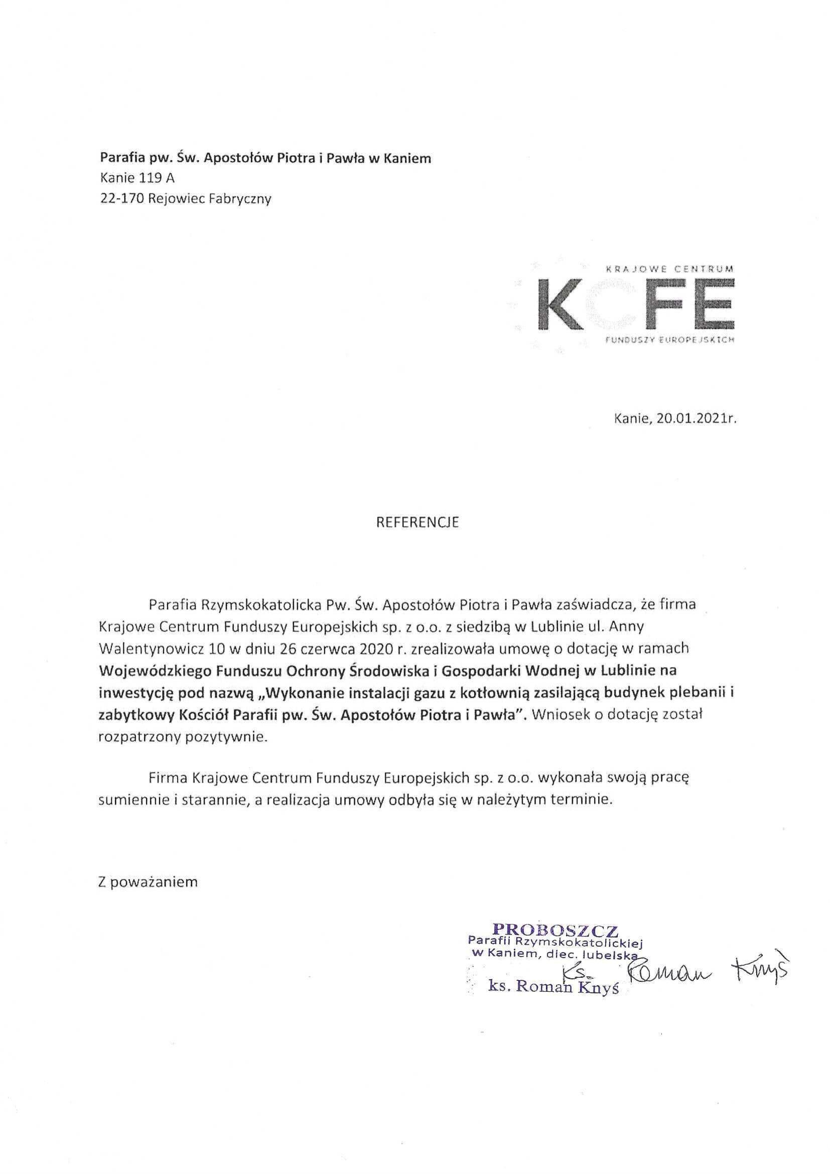 Referencje Parafia w Kaniem - instalacja gazowa 20.01.2021 JPG