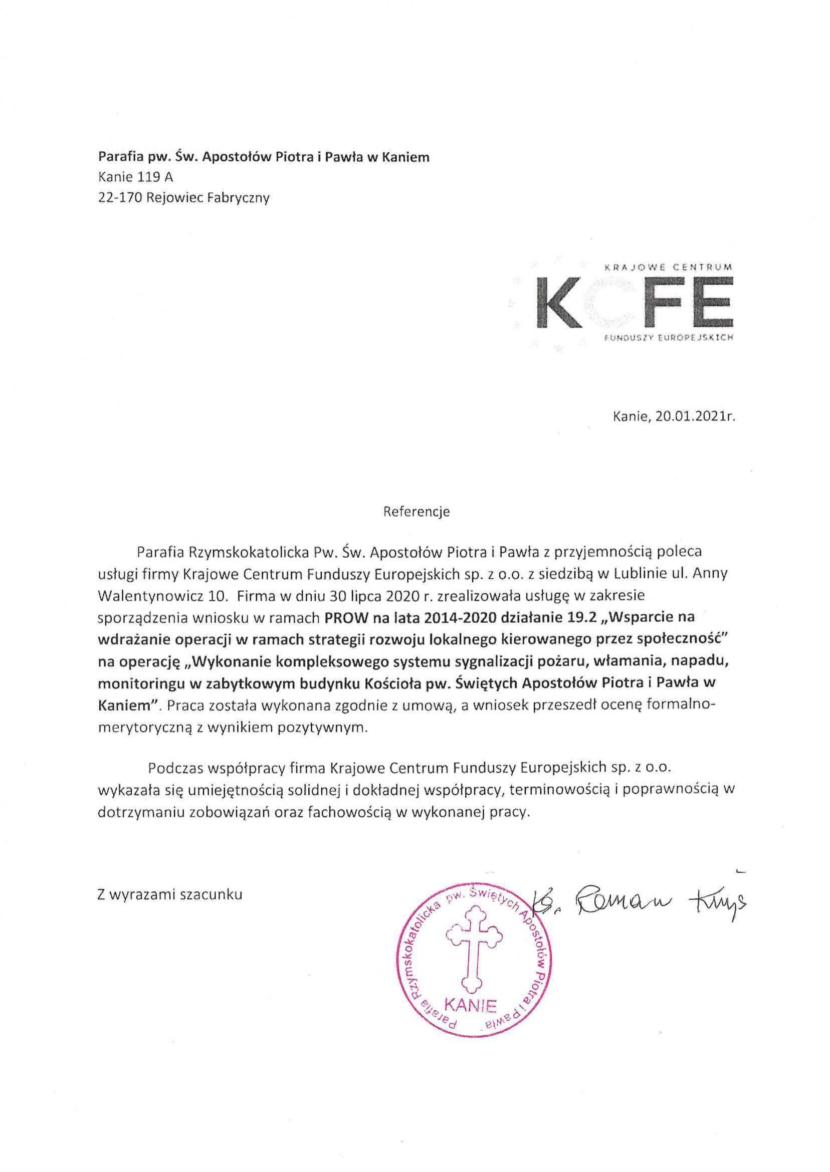 Referencje Parafia w Kaniem - system sygnalizacji 20.01.2021 JPG