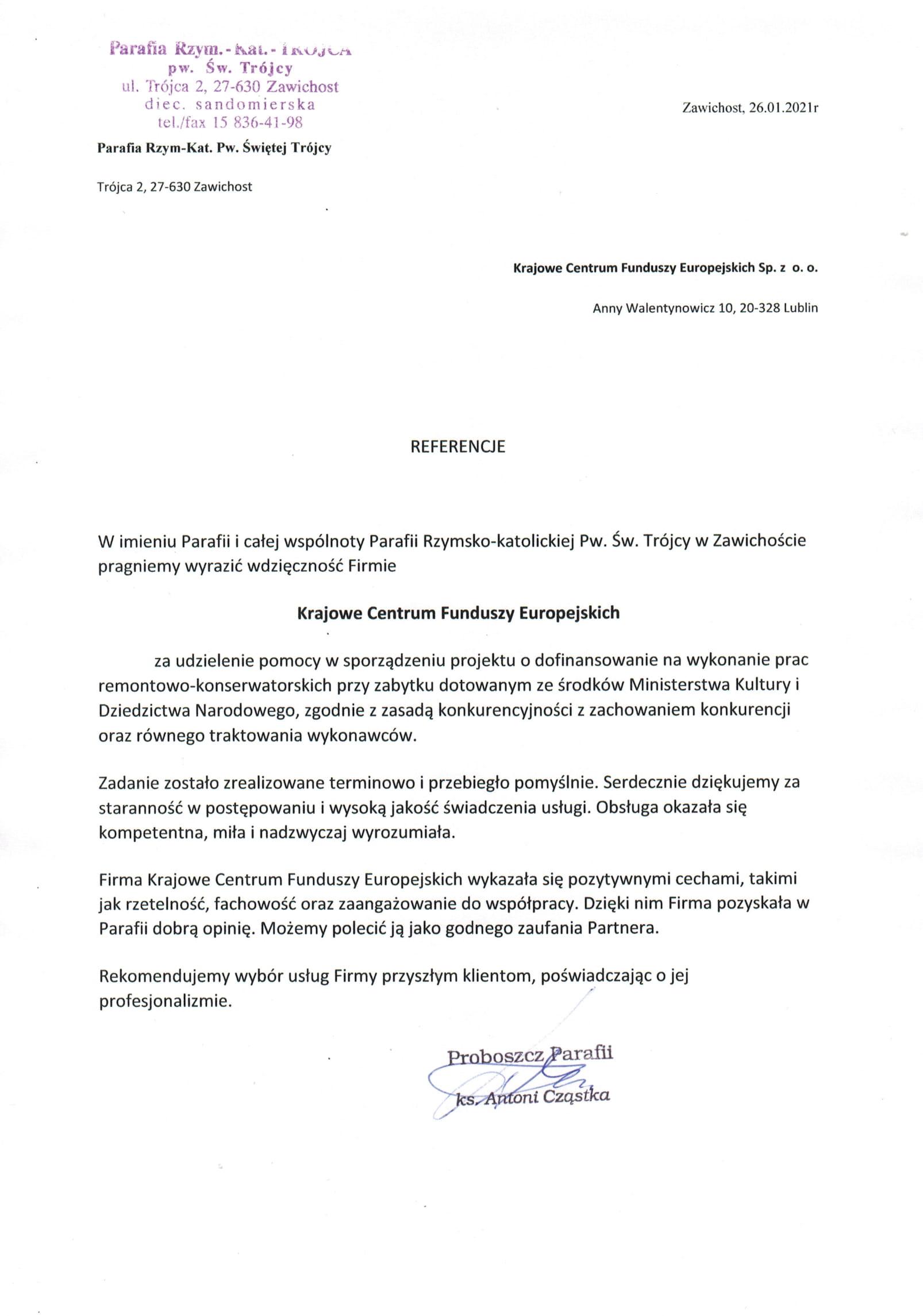 Referencje Parafia w Zawichoście - 26.01.2021 JPG