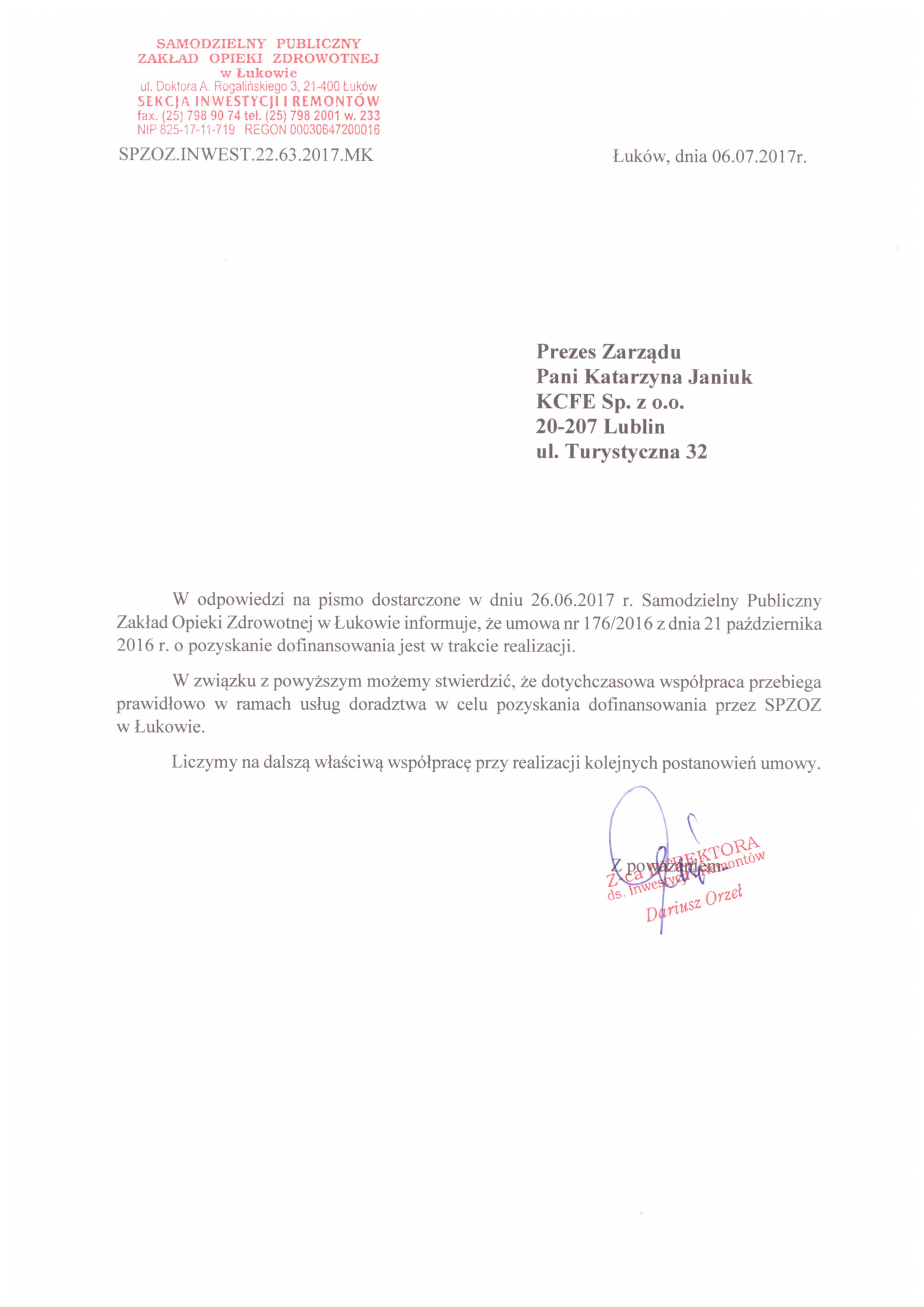 Referencje SPZOZ Łuków 06.07.2017 - JPG