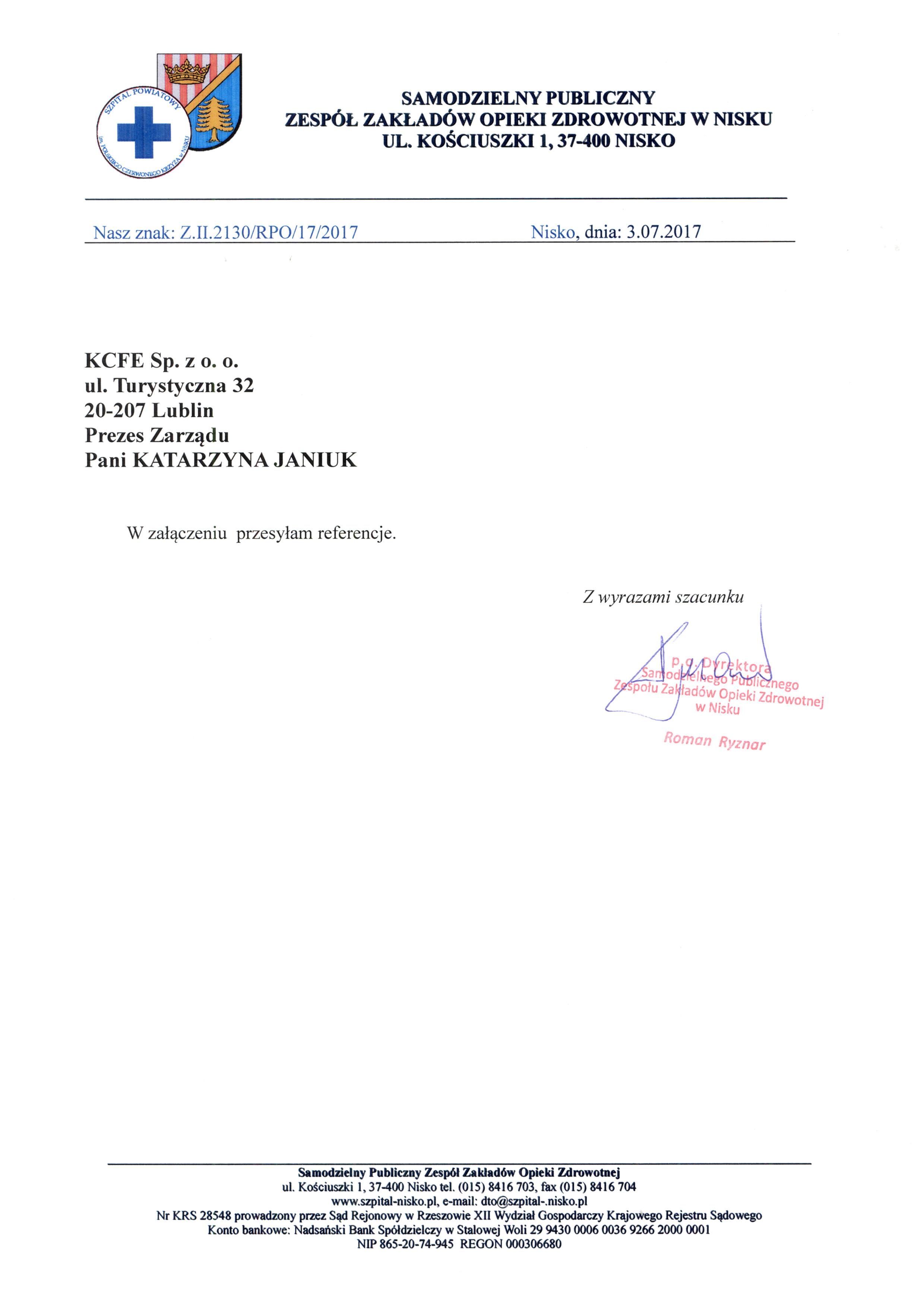 http://www.kcfe.pl/wp-content/uploads/2021/04/Referencje-SPZZOZ-w-Nisku-PDF-3-strony-03.07.2017.pdf