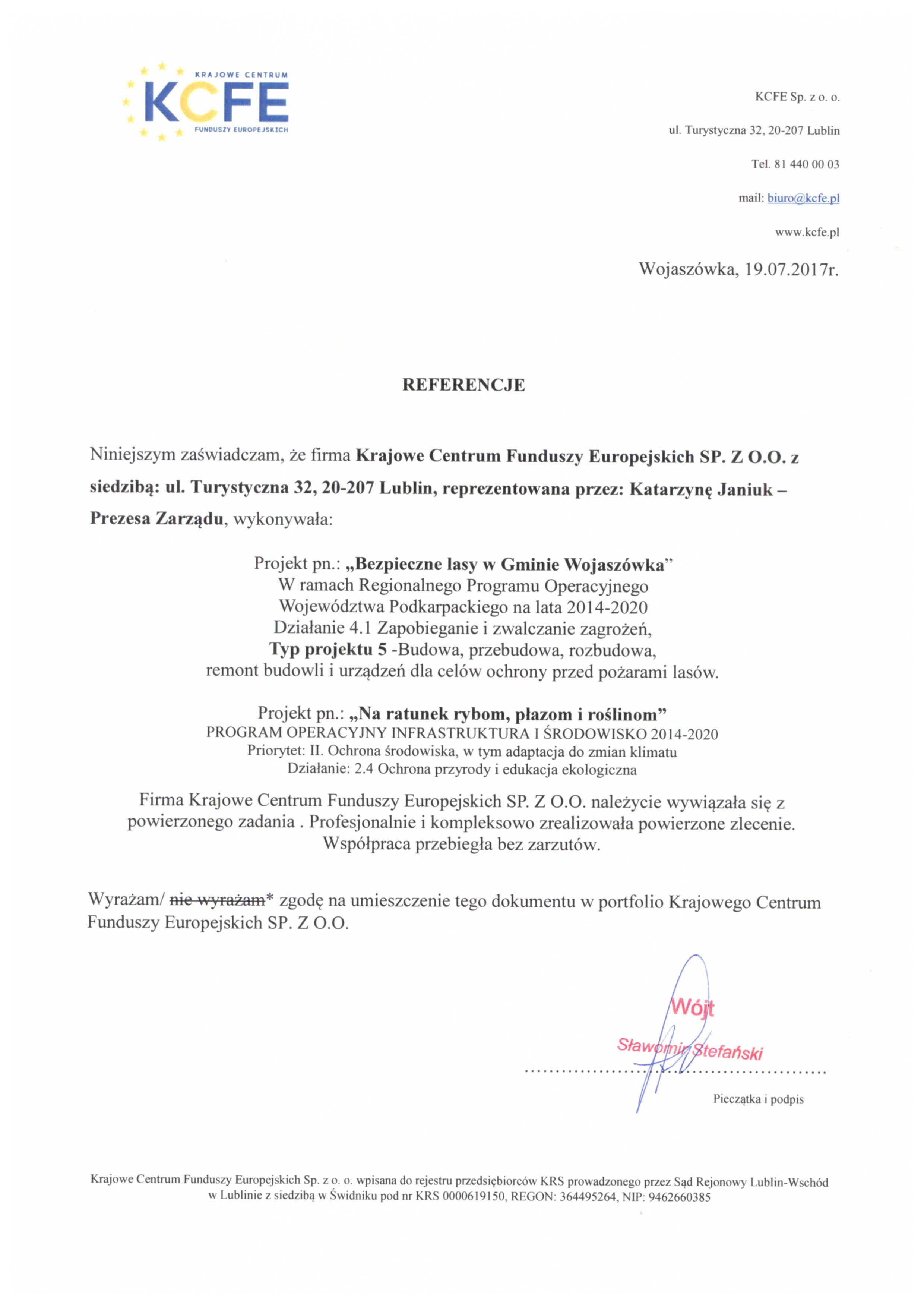 Referencje Wojaszówka Wójt 19.07.2017 - JPG