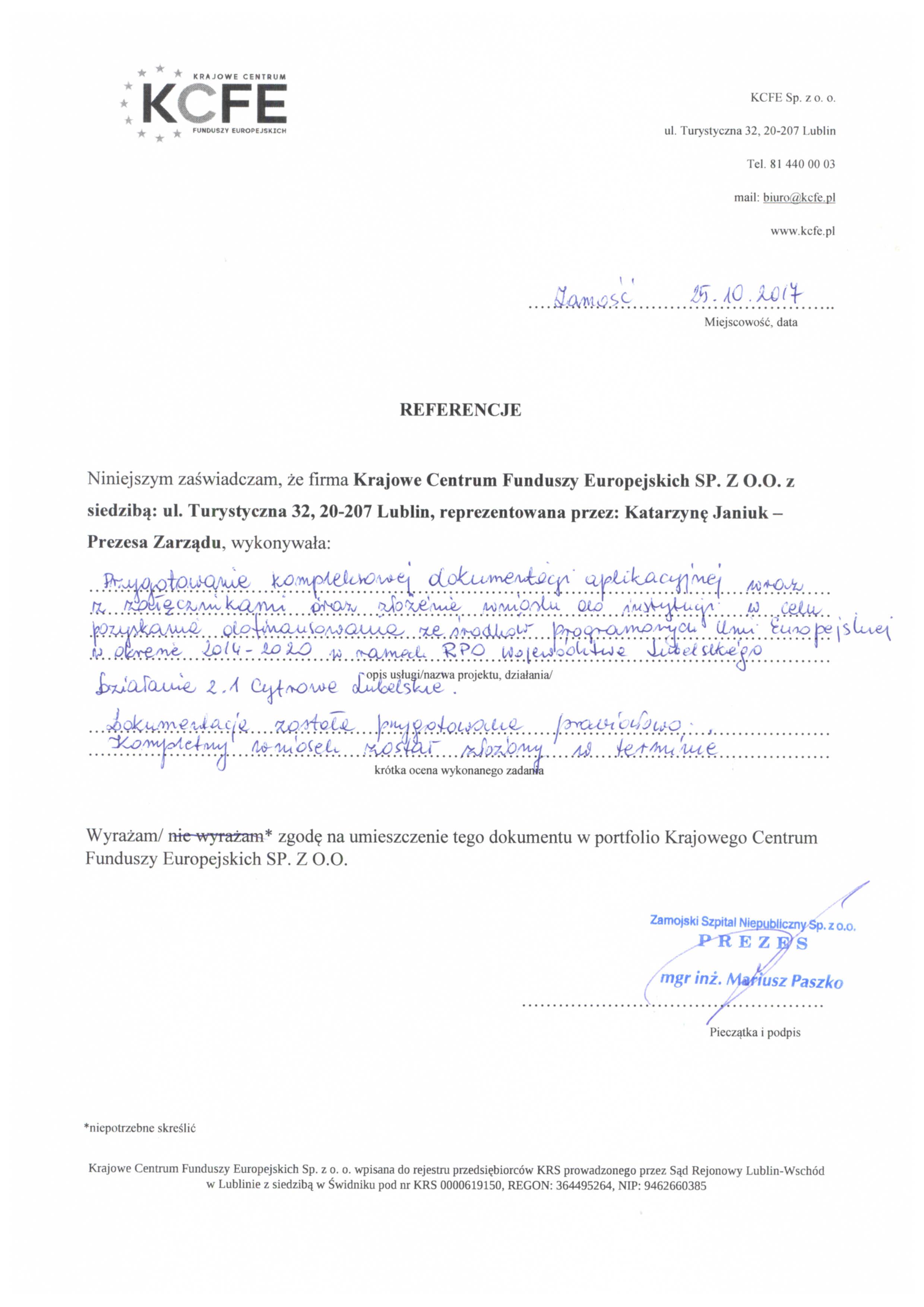 Referencje Zamojski Szpital 25.10.2017 - JPG